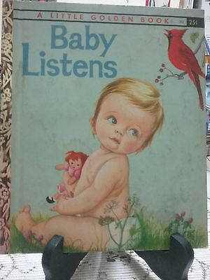 Rare Edition BABY LISTENS Little Golden Book (1960 First Edition New York) G/C