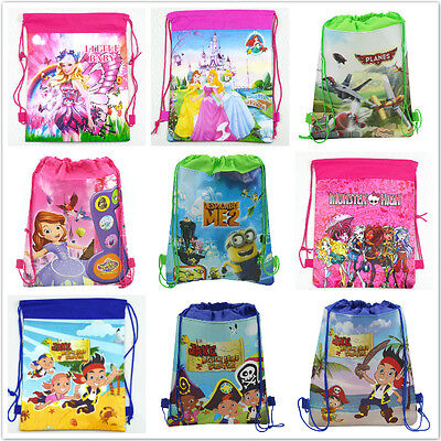 New 1pcs design children's Draw string Backpack School Bag Mixed design 21Colour
