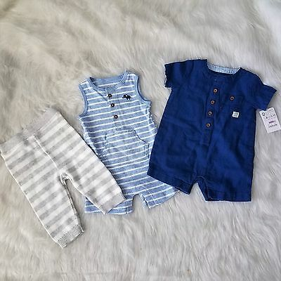 New Boys Lot 3 Pieces Size 3 and 3-6 Months Onepiece Rompers Pants Cat & Jack