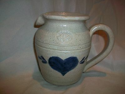 Vintage PineWood Valley Stoneware Blue Heart Folk Art Small Pitcher
