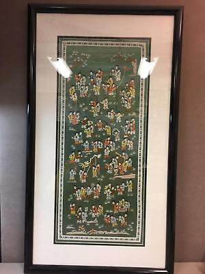 Vintage Chinese Silk Embroidered 100 Children Tapestry Wall Hanging Framed Art