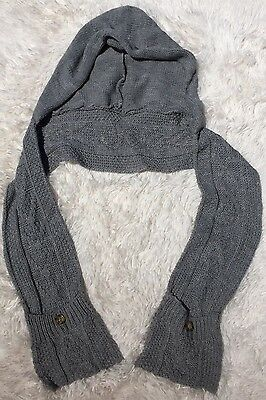 Merona Women's Hooded Scarf Pockets medium knit Gray