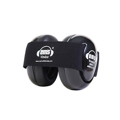 Baby Hearing Protection - Ems for Bubs BLACK Earmuffs & Adjustable Headband PPE