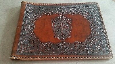 Leather photo album cover, vintage embossed
