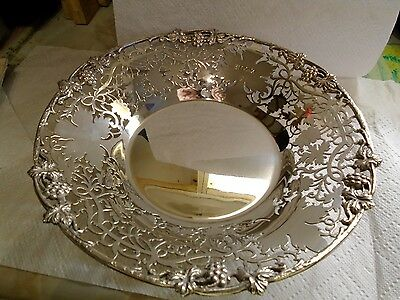 Solid Silver large Scroll Footed Dish By Cooper Bros & Sons Sheffield 1965 NICE!