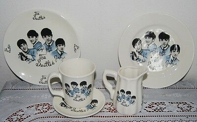 Collectable A Set Of  Beatles Porcelain Milk Jug & 2Round Plates + Cup & Saucer.