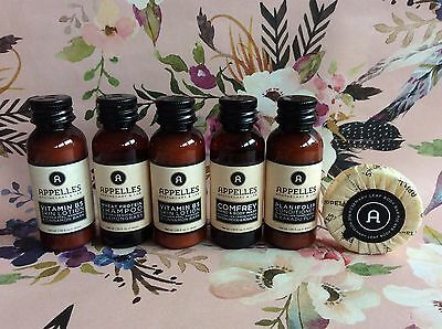 Appelles hydrating starter pack 6 travel sizes new organic natural lotion gel