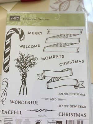 Stampin Up RETIRED Unmounted Stamp Set And Framelits BANNERS FOR CHRISTMAS