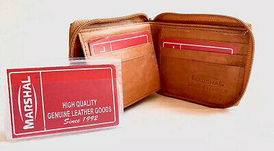 New Men's Genuine Cowhide Leather Bifold Wallet Tan Credit Card Holder Purse