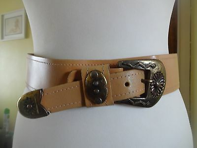 Vintage real leather 1950's style western mexican belt 29-32""