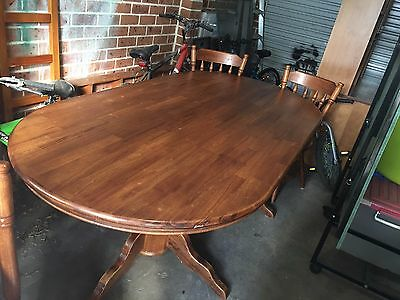 Solid Pine Wood Dining Set Table and 8 Wooden Chairs