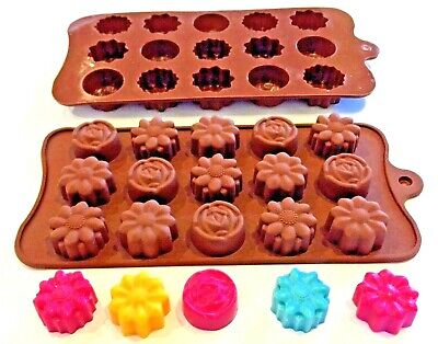 💐Assorted Flowers~15 Cav~Silicone Tray Mould~Soy Wax Tarts/Soaps/Chocs/Fondant
