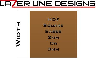 Laser cut Square bases in 2mm or 3mm MDF