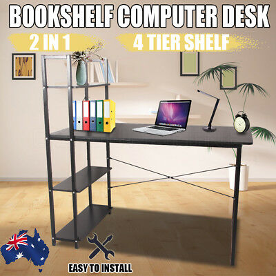 2017 Office Computer Desk Table Storage Shelf Bookcase Student Study Stand Black