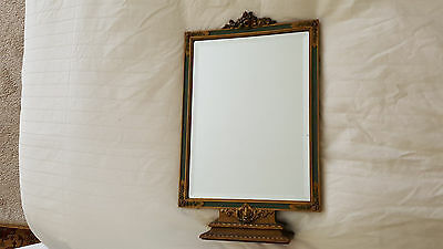 Antique Barbola Vanity Table Beveled Mirror