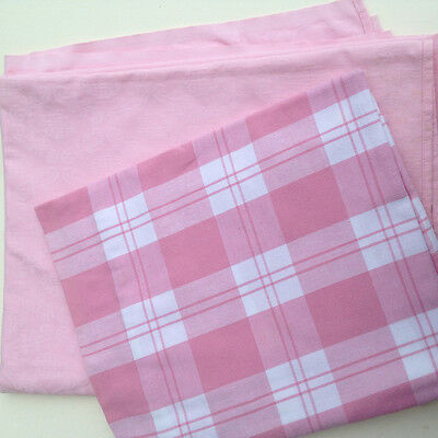 2 large vintage tablecloths. Pink cotton check and damask. very good order.