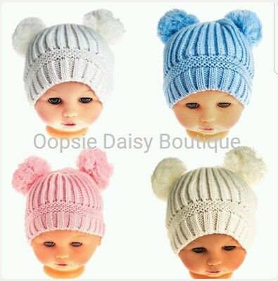 Baby Girl Boy Knitted Romany Style Ribbed Double Pom Pom Hat Soft Touch ☆