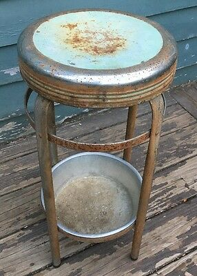 Vintage Mechanic's Metal Stool Shop Steampunk Industrial Bar Drafting with bowl