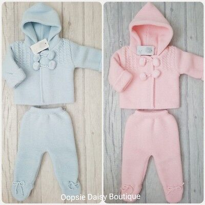 SALE - Baby Boy Girl Spanish Double Knitted Pom Pom Suit Hooded Jacket Set