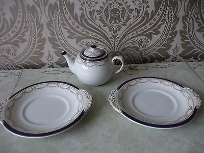 Booths Pottery Windsor Pattern Teapot & Pair of Handled Cake Plates