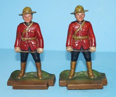 ANTIQUE ROYAL CANADIAN MOUNTED POLICE CAST IRON BOOKENDS METAL ART CIRCA 1930's