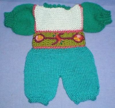 Puppenanzug grün Strick f. Baby/ baby suit knitted green