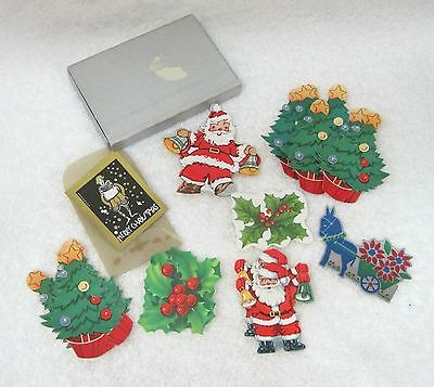 Vintage Christmas Gummed Sticker Seals 23Pc Santa Holly Christmas Tree More T76