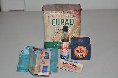 Vintage First Aid Kit In Curad Band-aid Tin