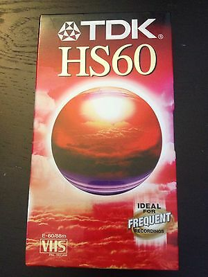 TDK HS 60 Blank VHS Video Tape. New & Sealed 1 Hour, 60 Minute Recording VCR PAL