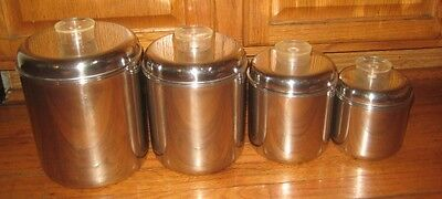 Gleaming Vintage Stainless Steel Revere Ware Kitchen Canister Set of Four