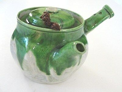 Rare antique Japanese Banko clay tapestry mosaic mini teapot marked side handle