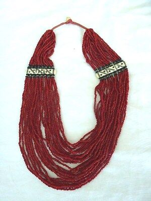"Vintage Chinese Tibet oxblood red seed coral beads 24 strands bib 26"" necklace"