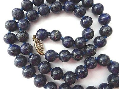 "Antique vintage Chinese 14K clasp blue Lapis Lazuli 8mm beads 21"" necklace, 72g"