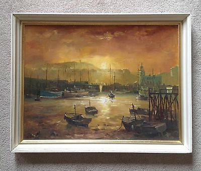 Don Micklethwaite. Scarborough Harbour. Original Oil Painting On Board.