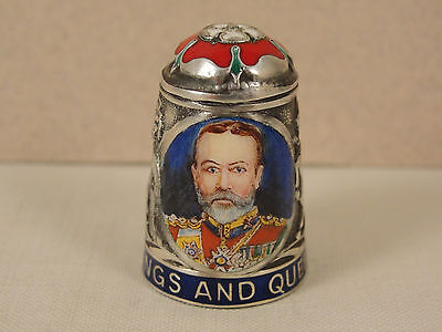Peter Swingler Silver & Enamel THIMBLE: GEORGE V. Kings & Queens Series