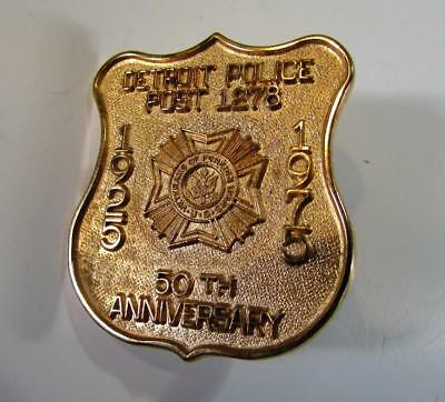 Vintage DETROIT POLICE POST 1278 50th Anniversary 1925-75 Commerative Badge