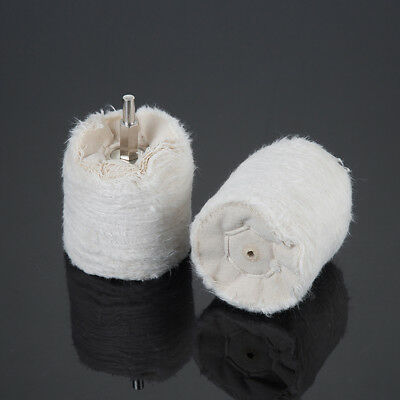 60mm Cylinder Cotton Polishing Buffing Wheel Mop Pad with 6mm Shank For Drill