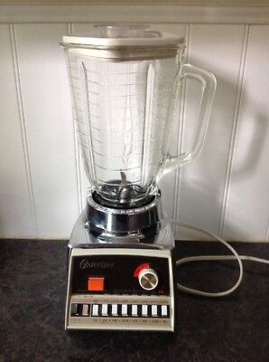 Vintage 70's Osterizer Pulse-Matic 16 Blender with Glass Pitcher Almond/Chrome
