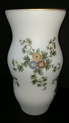 "Vintage Painted Frosted Satin Glass Vase 10"" Gold Rim EUC"