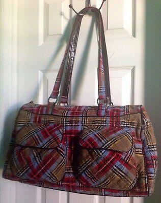 Retail $175 Limited Edition VERA BRADLEY_Patchwork Plaid Tweed_Carry-On Duffle