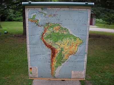 Vintage Nystrom Pull Down School Wall Map - South America