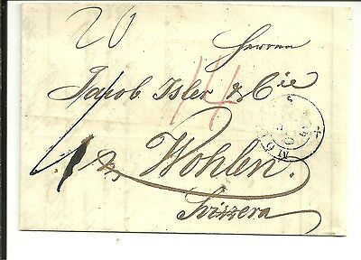 Italy 1849 Pre Stamp Letter From Modena To Wohlen, Switzerland (118)