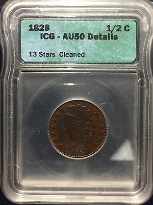 1828 1/2C 13 Stars Classic Head Half Cent PCGS AU 50 (Details)About Uncirculated
