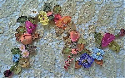 Antique Vintage French Ribbon Floral Ribbonwork