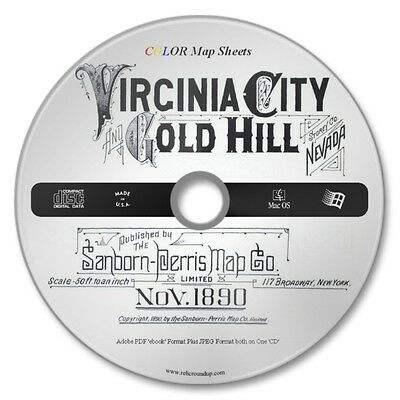 Virginia City / Gold Hill Nevada 13 Color Sanborn Maps Sheets Year1890 on New CD