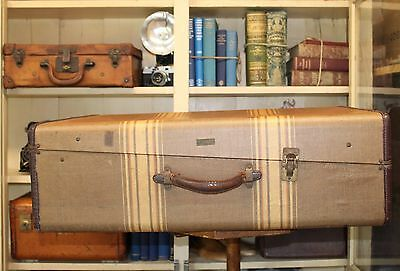 Vintage Oppenheimer and Sherman NY Wardrobe Trunk, Large Striped Tweed Suitcase