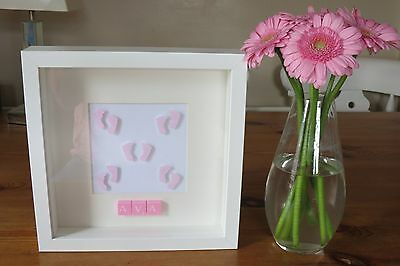 Personalised picture frame FEET /new baby/ christening /nursery /scrabble tiles