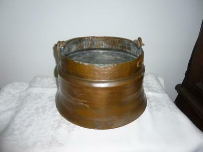 Large Hand Hammered Copper Cauldron Kettle Pot with Engraved Bail Handle