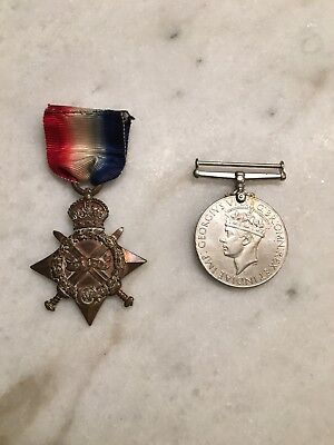 WWI British 1914-1915 Star Medal Named And WWII British War Medal