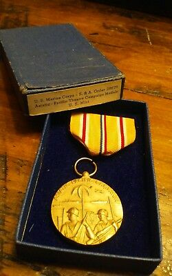 VINTAGE WW2 US MILITARY ASIAN PACIFIC MEDAL with original blue  BOX